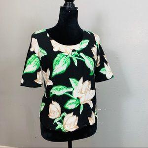 POSTMARK Anthropologie Floral Short Sleeve Top S